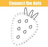 Colleghi i punti dal gioco educativo dei bambini di numeri Attività stampabile del foglio di lavoro Fragola illustrazione vettoriale