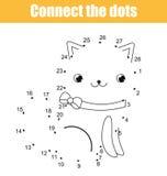 Colleghi i punti dal gioco educativo dei bambini di numeri Attività stampabile del foglio di lavoro Tema degli animali, gatto illustrazione di stock