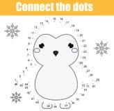 Colleghi i punti dal gioco educativo dei bambini di numeri Attività stampabile del foglio di lavoro Tema degli animali, pinguino illustrazione di stock