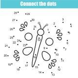 Colleghi i punti dal gioco educativo dei bambini di numeri Attività stampabile del foglio di lavoro Farfalla illustrazione di stock