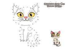 Colleghi i punti e dipinga il gatto sveglio del fumetto Gioco educativo FO illustrazione vettoriale