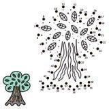 Colleghi i punti e disegni un albero illustrazione vettoriale