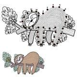 Colleghi i punti e disegni un bradipo sveglio royalty illustrazione gratis