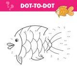 Colleghi i punti e disegni un pesce sveglio Gioco di numeri per i bambini Vettore illustrazione di stock