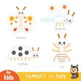 Colleghi i punti, gioco di istruzione per i bambini Insieme degli insetti royalty illustrazione gratis