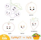 Colleghi i punti, gioco per i bambini Insieme dei frutti del fumetto illustrazione di stock