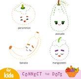 Colleghi i punti, gioco per i bambini Insieme dei frutti del fumetto royalty illustrazione gratis
