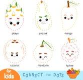 Colleghi i punti, gioco per i bambini Insieme dei frutti del fumetto illustrazione vettoriale