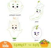 Colleghi i punti, gioco per i bambini Insieme della frutta e delle verdure del fumetto illustrazione vettoriale