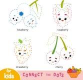 Colleghi i punti, gioco per i bambini Insieme delle bacche del fumetto illustrazione di stock