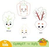 Colleghi i punti, gioco per i bambini Insieme delle verdure del fumetto illustrazione vettoriale
