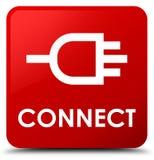 Colleghi il bottone del quadrato rosso illustrazione di stock