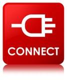Colleghi il bottone del quadrato rosso illustrazione vettoriale