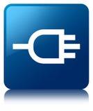 Colleghi il bottone quadrato blu dell'icona illustrazione di stock