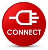 Colleghi il bottone rotondo rosso illustrazione di stock