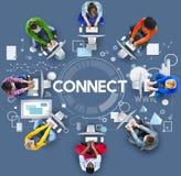 Colleghi il concetto sociale online di collegamento della rete di media illustrazione vettoriale