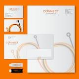 Colleghi il logo e lo stile corporativo Cicli di fibra ottica dalle linee multicolori identità royalty illustrazione gratis