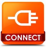 Colleghi il nastro rosso del bottone quadrato arancio nel mezzo illustrazione di stock