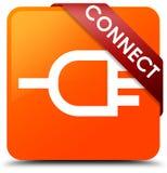 Colleghi il nastro rosso del bottone quadrato arancio nell'angolo illustrazione di stock