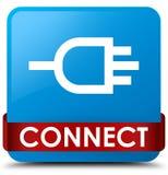Colleghi il nastro rosso del ciano bottone quadrato blu nel mezzo illustrazione di stock