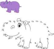 Colleghi il numero per pareggiare il gioco educativo animale per i bambini, ippopotamo sveglio illustrazione di stock