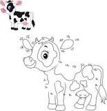 Colleghi il numero per pareggiare il gioco educativo animale per i bambini, piccola mucca sveglia illustrazione vettoriale