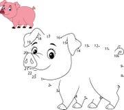 Colleghi il numero per pareggiare il gioco educativo animale per i bambini, piccolo maiale sveglio illustrazione di stock