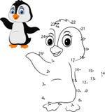 Colleghi il numero per pareggiare il gioco educativo animale per i bambini, piccolo pinguino sveglio illustrazione vettoriale