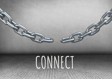 colleghi il testo con la catena di collegamento nella sala royalty illustrazione gratis