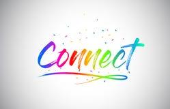 Colleghi il testo creativo di parola di Vetor con i colori vibranti ed i coriandoli dell'arcobaleno scritto a mano illustrazione vettoriale