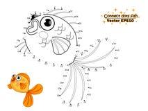 Colleghi il tiraggio dei punti il pesce sveglio del fumetto e colori Istruzione illustrazione vettoriale