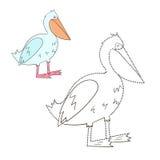 Colleghi l'illustrazione di vettore del pellicano del gioco dei punti Immagine Stock Libera da Diritti