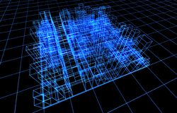 Colleghi la presentazione elettricamente del blocco per grafici dell'architettura illustrazione di stock
