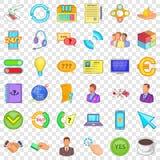 Colleghi le icone messe, stile di Internet del fumetto illustrazione vettoriale
