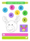 Colleghi le lettere Foglio di lavoro stampabile per i bambini di asilo e della scuola materna Alfabeto che impara le lettere e co illustrazione vettoriale