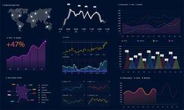 Colleghi lo schermo con i dati infographic, stile di HUD royalty illustrazione gratis