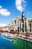 Collegiale Notre Dame de Dinant near Meuse river Stock Photography