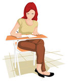 Collegian girl in writing Stock Image