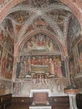 Collegiata church of St Mary in Castell`Arquato. The interior has sculpted capitals, sculptures, baptismal pieve and frescoes royalty free stock photos