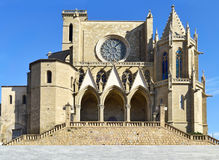 Collegiate Basilica of Santa Maria in Manresa, Spain. View of the facade of the Collegiate Basilica of Santa Maria in Manresa, Spain Royalty Free Stock Photo