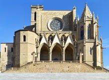 Collegiate Basilica of Santa Maria in Manresa, Spain. View of the facade of the Collegiate Basilica of Santa Maria in Manresa, Spain royalty free stock photo