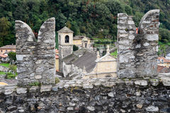 The Collegiate Church and fort Castelgrande at Bellinzona on the Stock Photo
