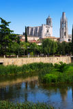 Collegiate Church and Gothic Cathedral in Girona Stock Image