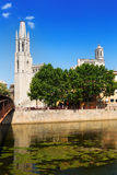 Collegiate Church and Gothic Cathedral from Onyar. Girona Stock Photos