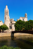 Collegiate Church and Gothic Cathedral from Onyar. Girona Royalty Free Stock Photography