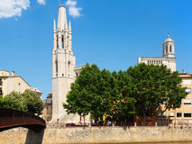 Collegiate Church  and Gothic Cathedral from Onyar river. Giron Stock Image
