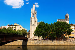Collegiate Church and Gothic Cathedral from Onyar river. Girona Stock Image