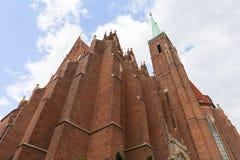 Collegiate Church of the Holy Cross and St. Bartholomew, Ostow Tumski, Wroclaw, Poland. 13th century Gothic Collegiate Church of the Holy Cross and St Stock Photos