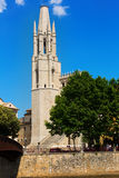 Collegiate Church from Onyar river. Girona Royalty Free Stock Photography