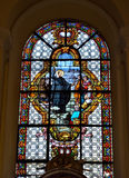 Collegiate church of Saint-Denis of Liege. LIEGE, BELGIUM-OCTOBER 19, 2014: Stained glass window in Collegiate church of Saint-Denis of Liege. The church was Stock Photos